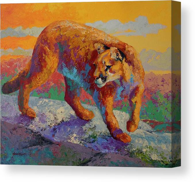 Ridge Cougar Canvas Print featuring the painting Ridge Cougar by Marion Rose