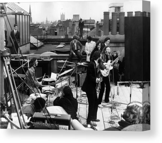 Rock Music Canvas Print featuring the photograph Rooftop Beatles by Express
