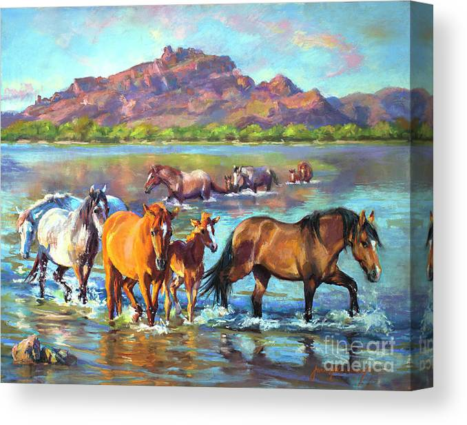 Pastel Canvas Print featuring the painting Salt River Solitude by Jean Hildebrant