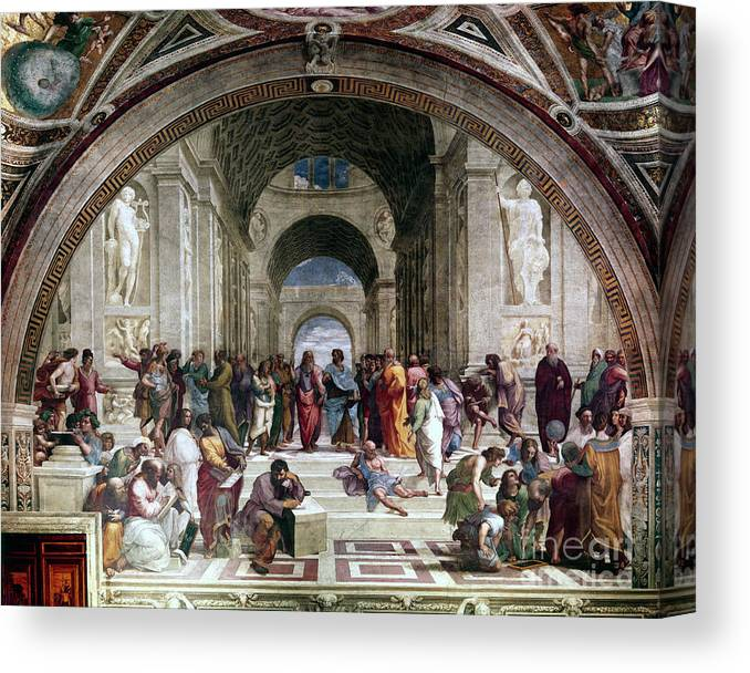 Education Canvas Print featuring the drawing School Of Athens, C1510. Artist Raphael by Print Collector