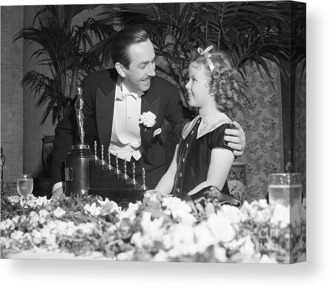 Child Canvas Print featuring the photograph Shirley Temple And Walt Disney by Bettmann