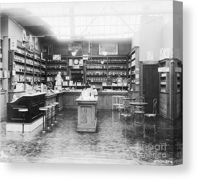 Pharmacy Canvas Print featuring the photograph Soda Fountain In Drug Store by Bettmann