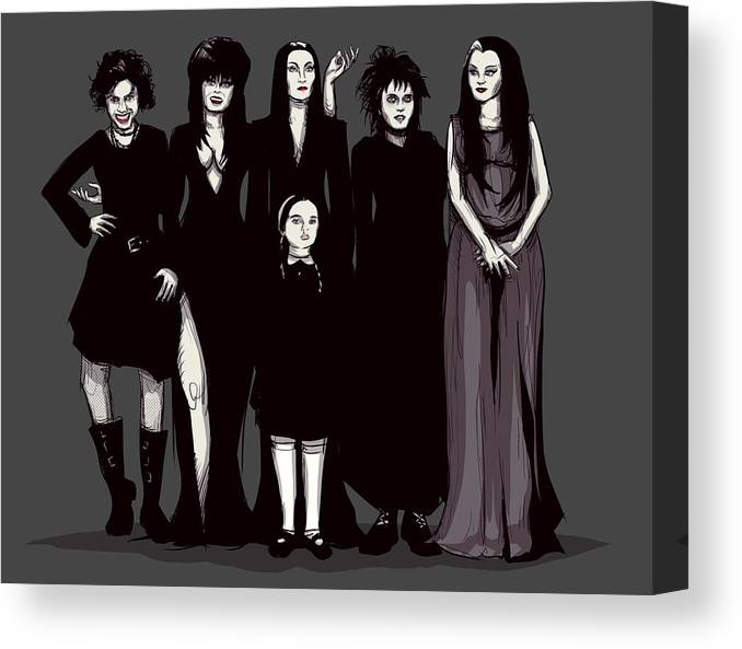 Craft Canvas Print featuring the drawing Spooky Girls by Ludwig Van Bacon