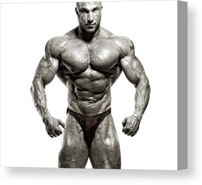 Abdominal Muscle Canvas Print featuring the photograph Strong Male Model by Spanic