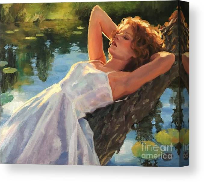 Water Canvas Print featuring the painting Summer Idyll by Jean Hildebrant