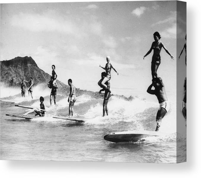 Recreational Pursuit Canvas Print featuring the photograph Surf Stunts by Keystone