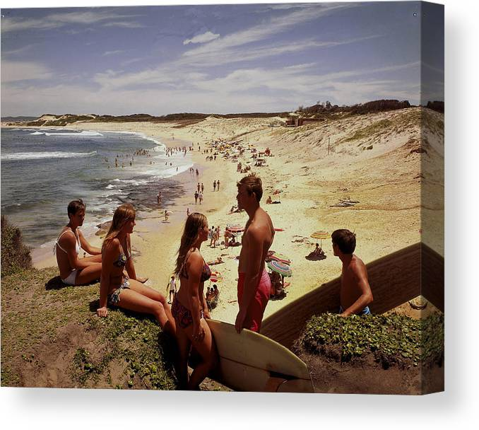 Equipment Canvas Print featuring the photograph Surfers & Girls In Bikinis, Soldiers by Robin Smith
