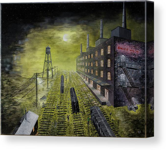 Trains Canvas Print featuring the painting Swift spinning mills Columbus Georgia by Richard Barham