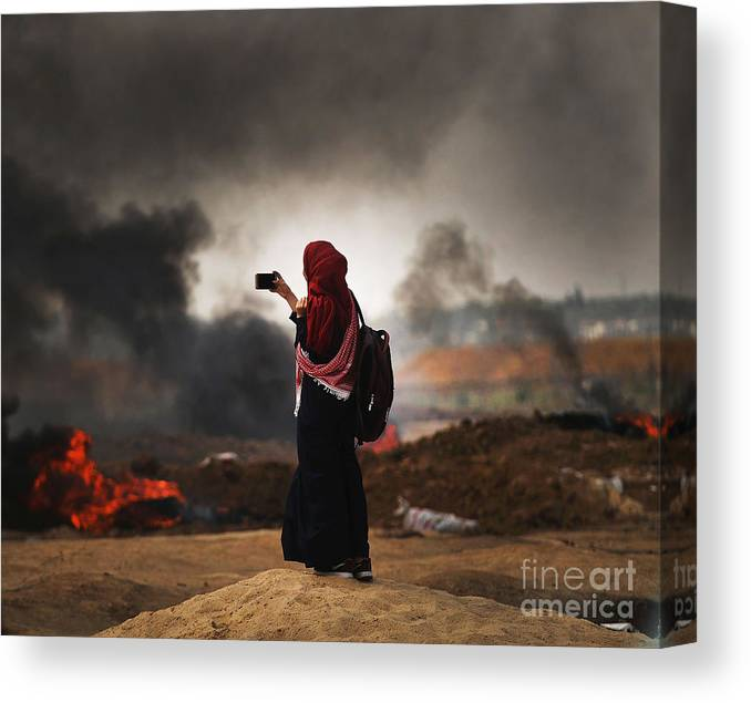 Palestinian Territories Canvas Print featuring the photograph Tensions In Gaza Remain High by Spencer Platt