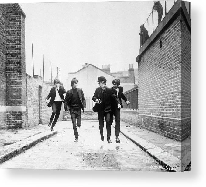 People Canvas Print featuring the photograph The Beatles Running In A Hard Days Night by Bettmann