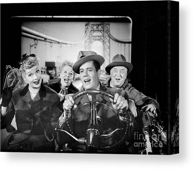 Fedora Canvas Print featuring the photograph The Cast Of I Love Lucy by Cbs Photo Archive