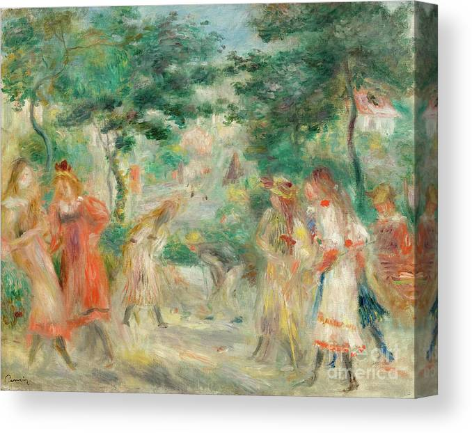 Oil Painting Canvas Print featuring the drawing The Croquet Party Girls In The Garden by Heritage Images