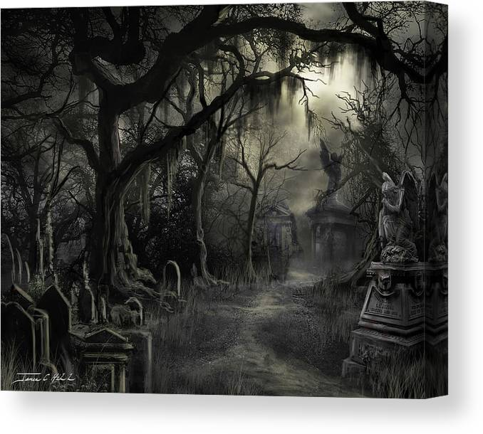 Cemetery Canvas Print featuring the painting The Lost Cemetery by James Christopher Hill