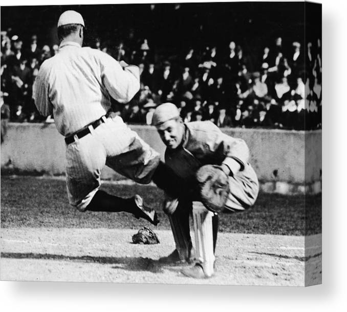 Baseball Catcher Canvas Print featuring the photograph Ty Cobb Sliding Into Catcher by Pictorial Parade