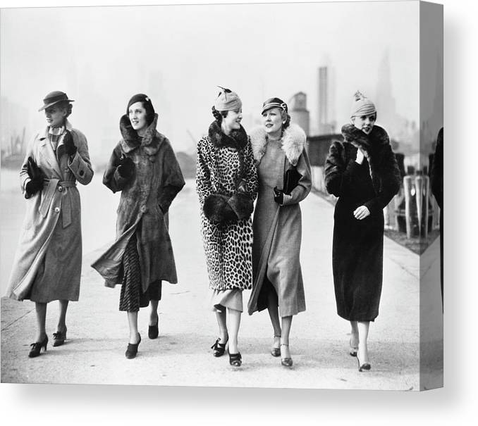 People Canvas Print featuring the photograph Winter Coats by Camerique