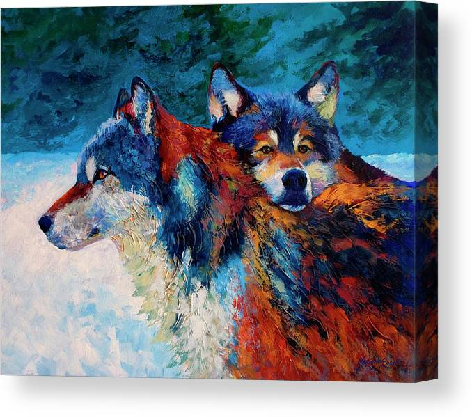 Animals Canvas Print featuring the painting Wolves by Marion Rose