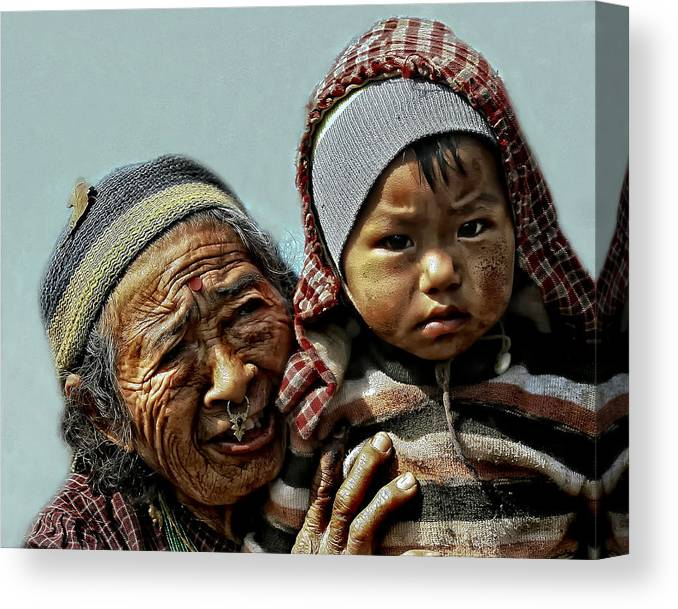 Nepal Canvas Print featuring the photograph Women Of Nepal - Series by Yvette Depaepe