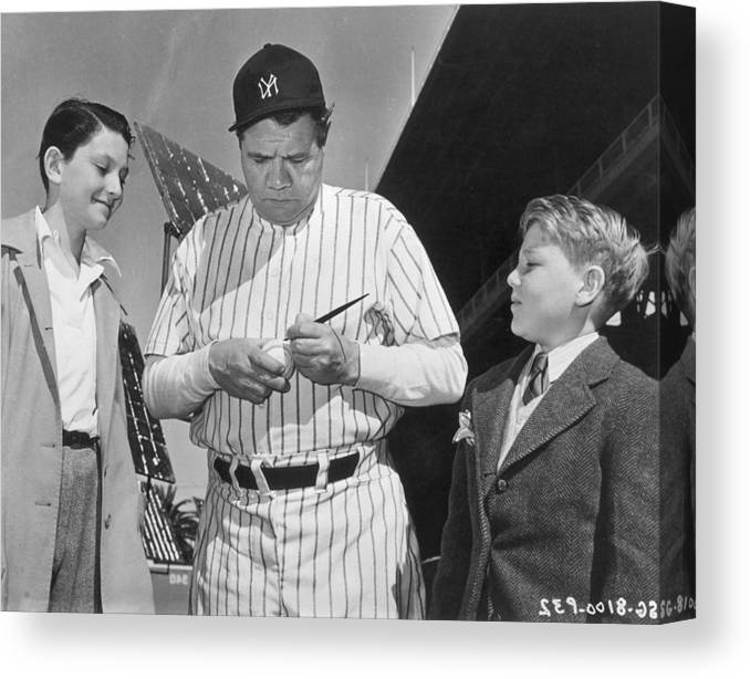 Child Canvas Print featuring the photograph Babe Ruth by American Stock Archive