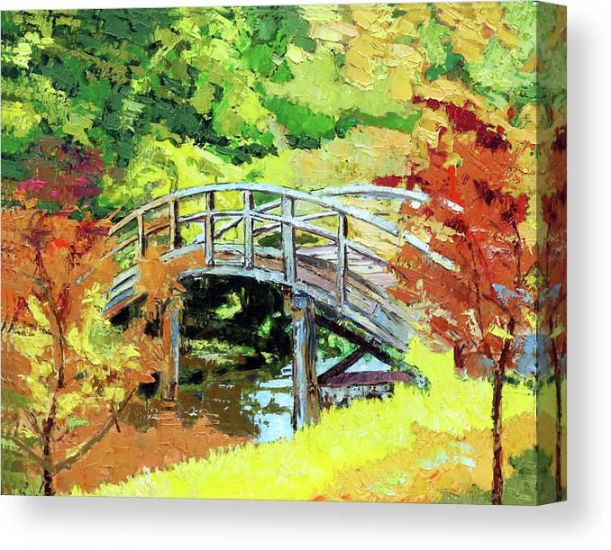 Bridge Canvas Print featuring the painting Drum Bridge in Autumn by John Lautermilch