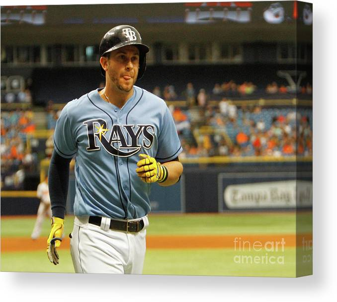 Three Quarter Length Canvas Print featuring the photograph Evan Longoria by Joseph Garnett Jr.