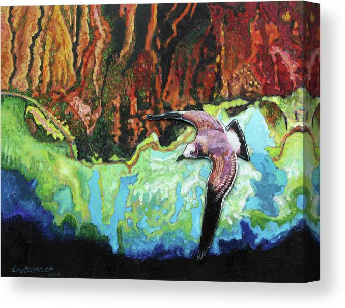 Sea Gull Canvas Print featuring the painting Flying High by John Lautermilch
