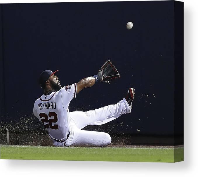 Atlanta Canvas Print featuring the photograph Jason Heyward by Mike Zarrilli