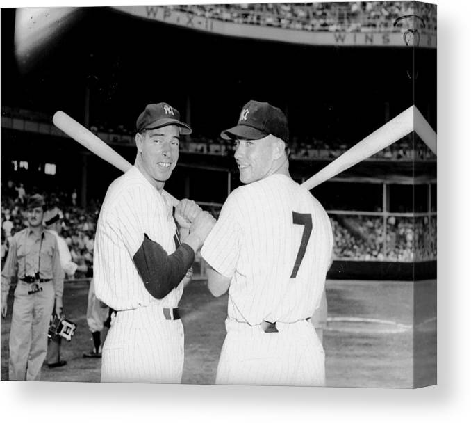 American League Baseball Canvas Print featuring the photograph Joe Dimaggio and Mickey Mantle by New York Daily News Archive
