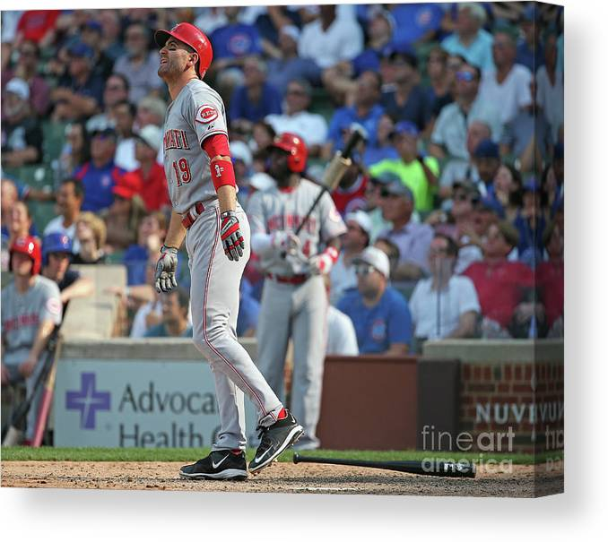Following Canvas Print featuring the photograph Joey Votto by Jonathan Daniel
