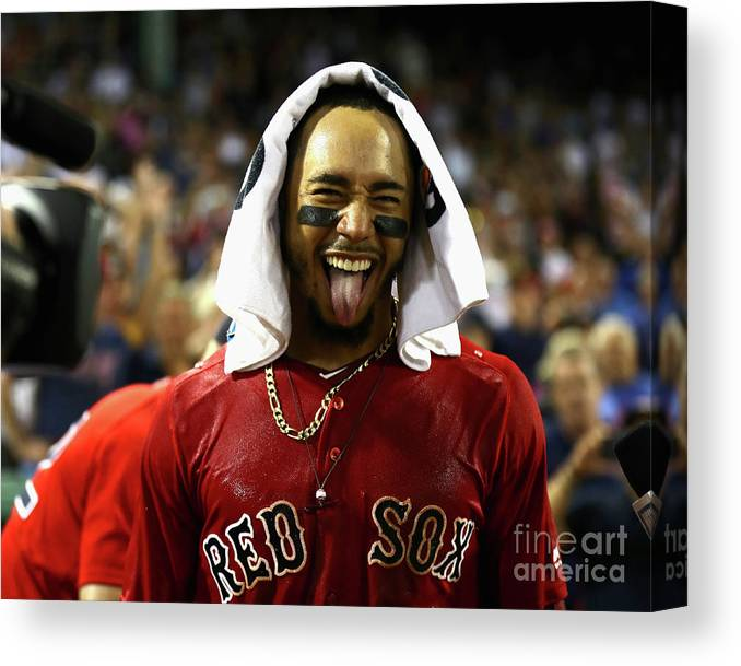 People Canvas Print featuring the photograph Mookie Betts by Omar Rawlings