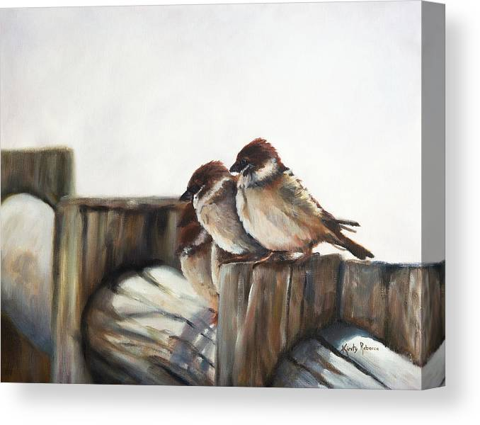 Sparrows Canvas Print featuring the painting Taking a Break by Kirsty Rebecca