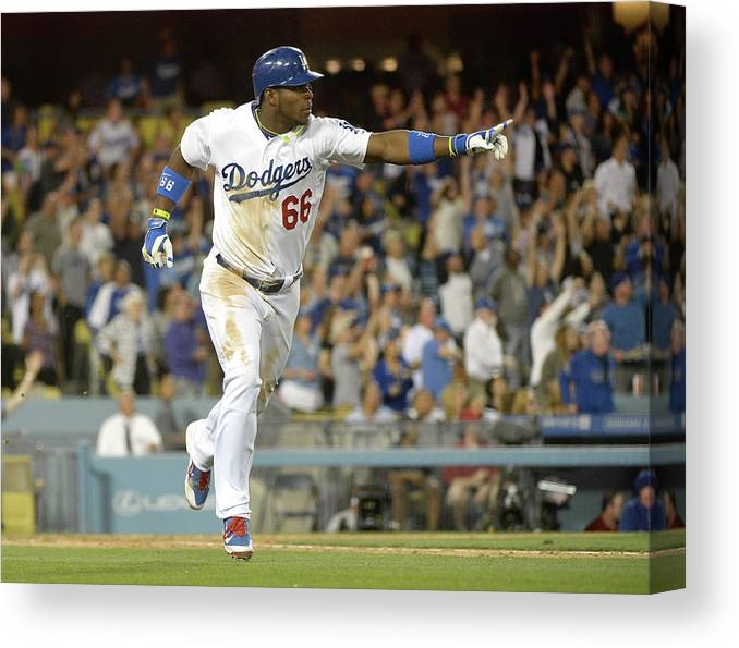 California Canvas Print featuring the photograph Yasiel Puig by Harry How