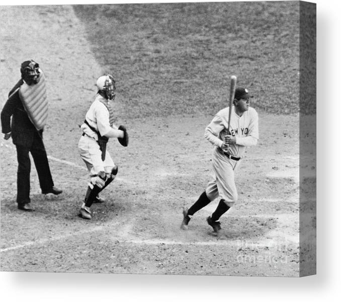 Following Canvas Print featuring the photograph Babe Ruth by National Baseball Hall Of Fame Library