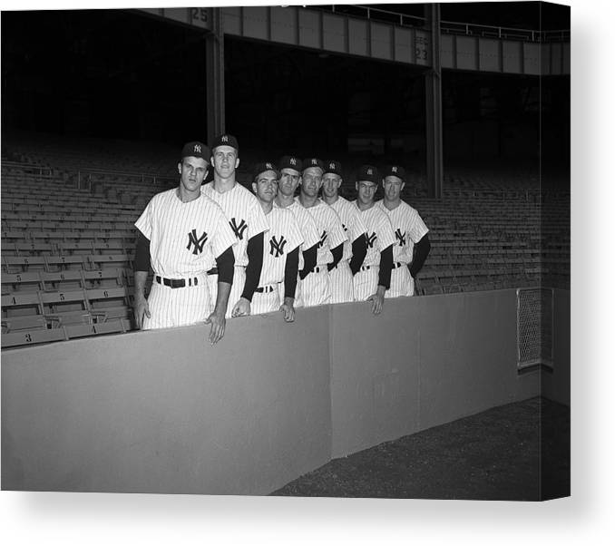 Bill Skowron Canvas Print featuring the photograph New York Yankees by Olen Collection