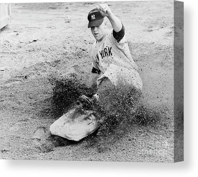 Dust Canvas Print featuring the photograph Mickey Mantle by National Baseball Hall Of Fame Library
