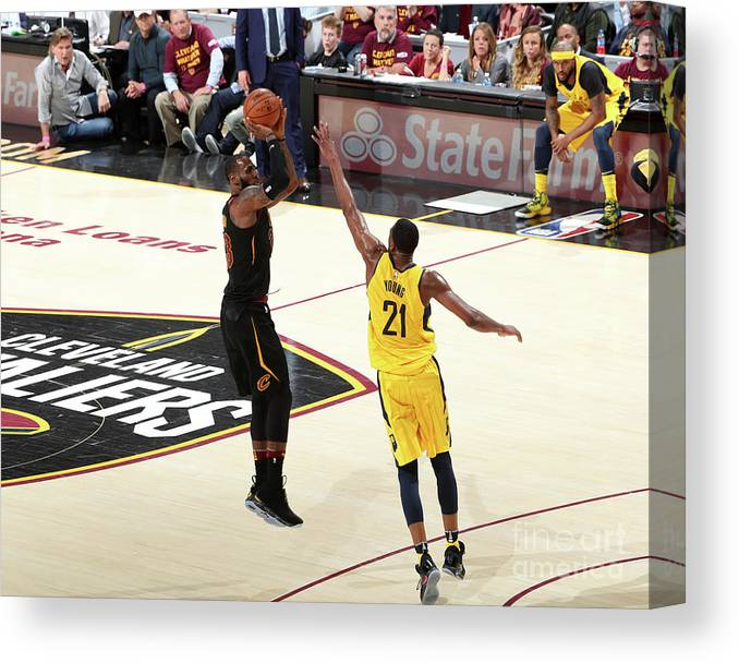 Playoffs Canvas Print featuring the photograph Lebron James by Nathaniel S. Butler