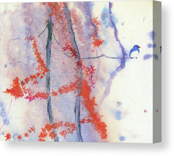 A Bird Perching Canvas Print featuring the painting A Melody of Autumn by Mui-Joo Wee