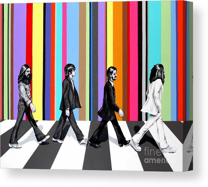 The Beatles Canvas Print featuring the painting Abbey Road Technicolor by Amy Belonio