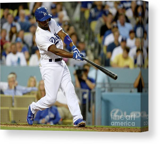 People Canvas Print featuring the photograph Adam Morgan and Jimmy Rollins by Kevork Djansezian