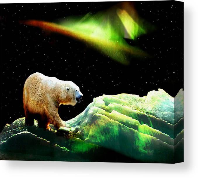 Polar Bear Canvas Print featuring the photograph Alaska Aurora Night Stalker # DA 091 by Dianne Roberson