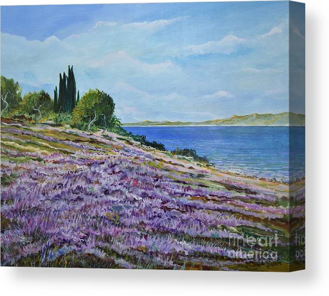 Landscape Canvas Print featuring the painting Along The Shore by Sinisa Saratlic