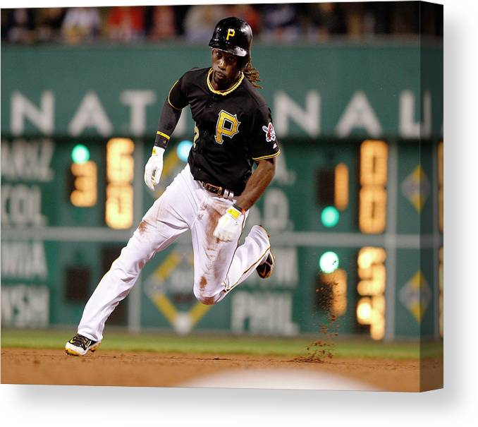 Pnc Park Canvas Print featuring the photograph Andrew Mccutchen by David Maxwell