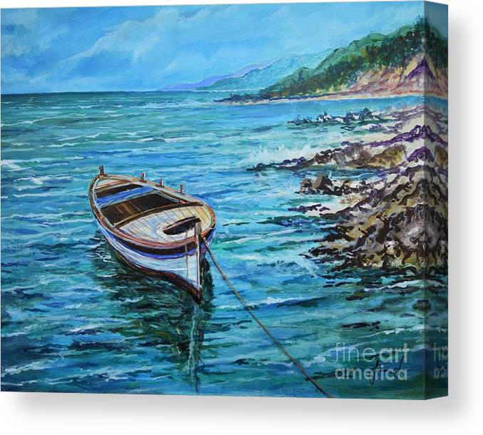 Beach And Waves Canvas Print featuring the painting Boat by Sinisa Saratlic