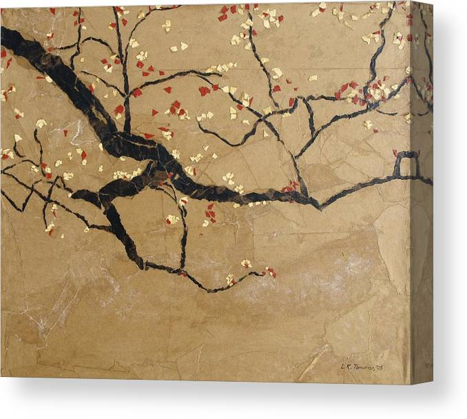 Blooming Branch Canvas Print featuring the painting Branch by Leah Tomaino