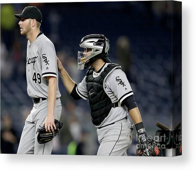 Three Quarter Length Canvas Print featuring the photograph Chris Sale and Alex Avila by Elsa