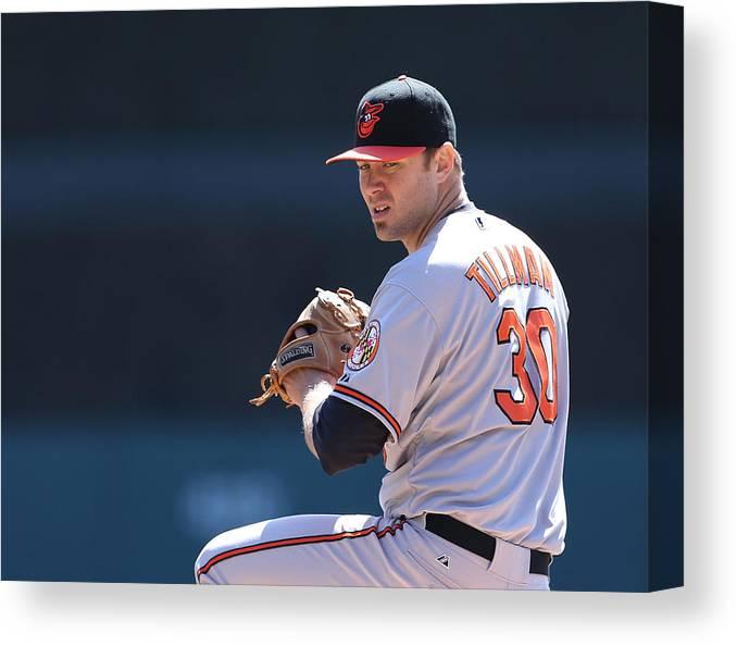 American League Baseball Canvas Print featuring the photograph Chris Tillman by Leon Halip