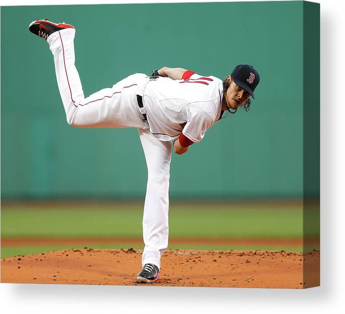 American League Baseball Canvas Print featuring the photograph Clay Buchholz by Jim Rogash