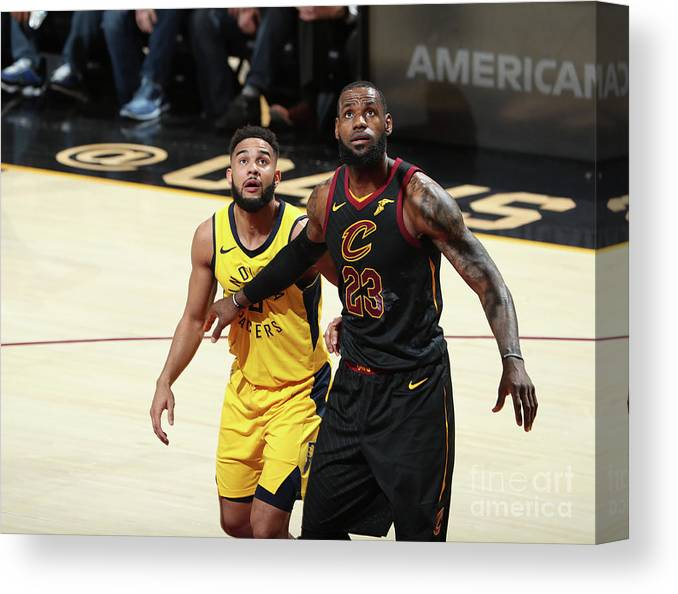 Playoffs Canvas Print featuring the photograph Cory Joseph and Lebron James by Nathaniel S. Butler