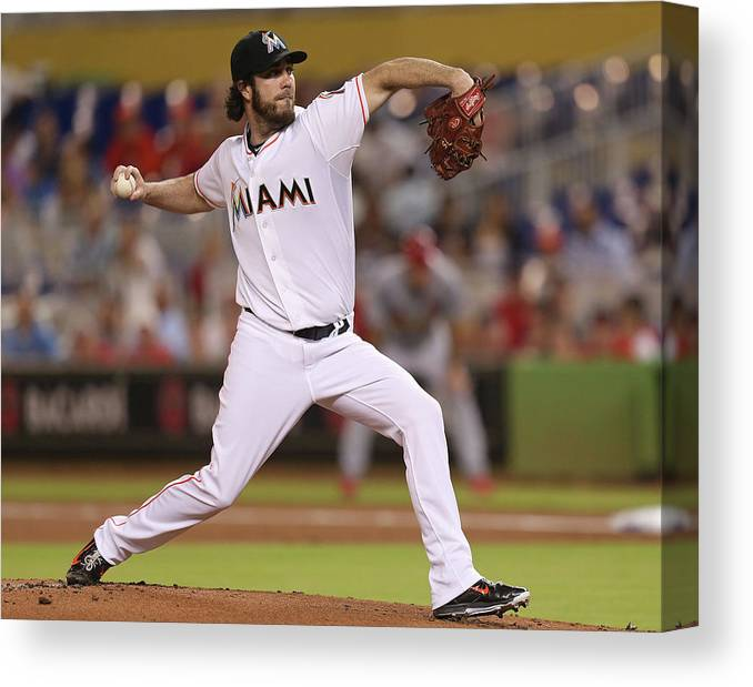 People Canvas Print featuring the photograph Dan Haren by Rob Foldy