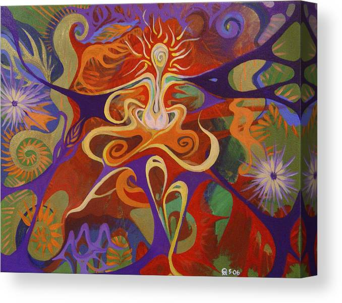 Woman Sitting In Flowy Colors - Meditative And Imaginative Canvas Print featuring the painting Dance Of Color by Michelle Oravitz
