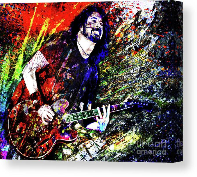 Dave Grohl Canvas Print featuring the mixed media Dave Grohl Art by Ryan Rock Artist